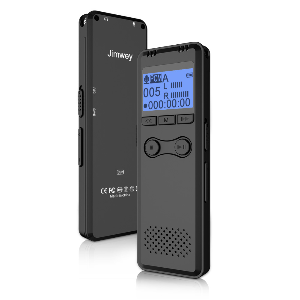 Digital Voice Recorder, Jimwey 8GB Voice Recorder with MP3 Player, HD Recording, Portable Auto Voice