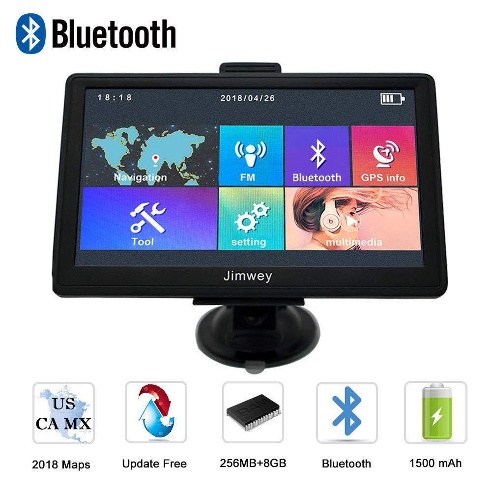 Navigation Systems for Car, Jimwey 7 inch Bluetooth 8GB 256MB GPS Navigation for Car/Truck, Speed Ca